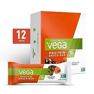Vega Protein Snack Bar, Chocolate Caramel - Vegan Protein Bars, Plant Based, Vegetarian, Dairy Free, Gluten Free, Soy Free, Non GMO (12 Count)