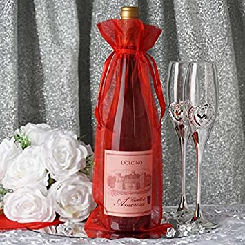 6x15 Efavormart 10PCS Royal Blue Organza Gift Bag Drawstring Pouch Wedding Favors Bridal Shower Treat Jewelry Bags