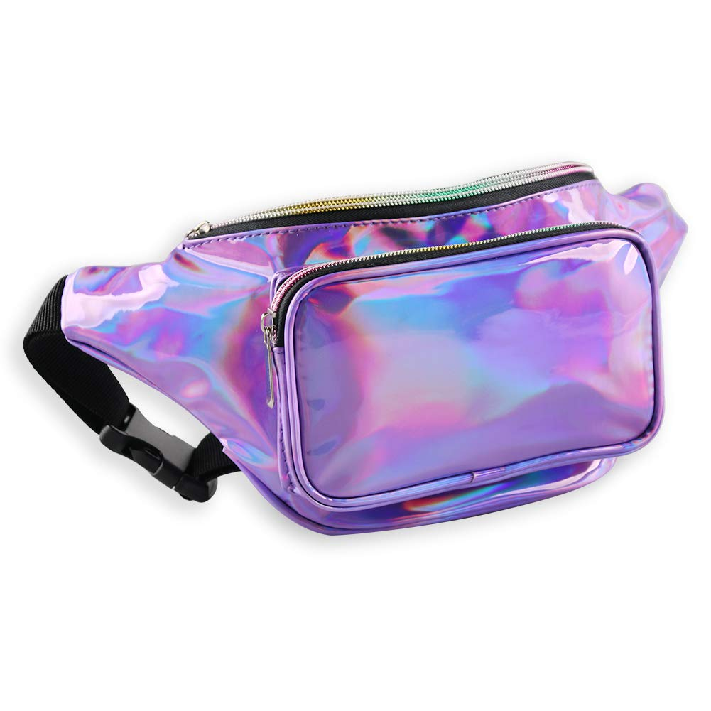 Mum's memory Holographic Fanny Packs for Women - Outdoor Sport Waist Pack for Running, Hiking, Traveling for Men (Purple) by Mum's memory