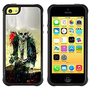 LASTONE PHONE CASE / Suave Silicona Caso Carcasa de Caucho Funda para Apple Iphone 5C / Zombie Skull Skeleton