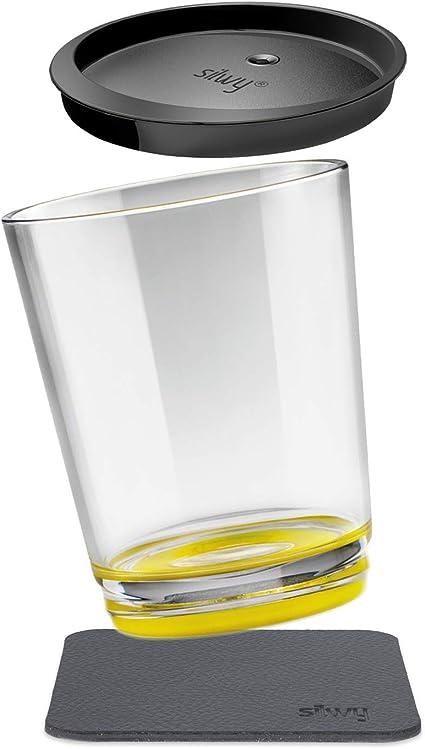 silwy Magnetic drinkware – Vasos de plástico irrompibles y Antideslizantes con imán Integrado y Posavasos metálicos – Camping, Barco, niños, Oh Yellow