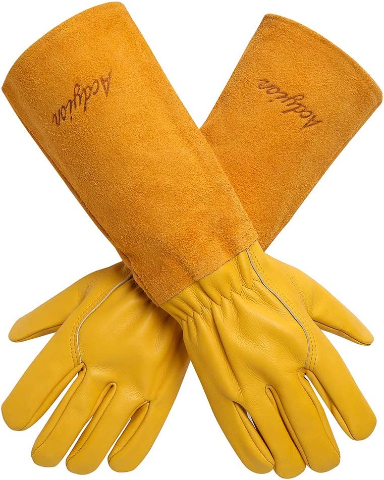 Acdyion Gardening Gloves for Women/Men Rose Pruning Thorn & Cut Proof Long Forearm Protection Gauntlet, Durable Thick Cowhide Leather Work Garden Gloves (Medium, Yellow)
