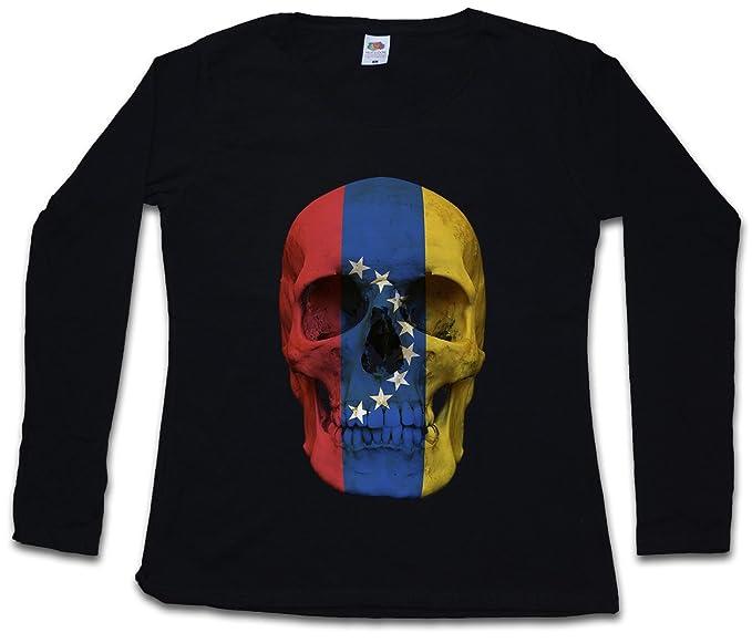 Classic Venezuela Skull Flag Mujer Woman T-Shirt DE Manga Larga - Bandera cráneo Schädel