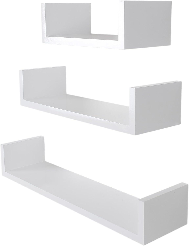 Conjunto de 3 Piezas de estanteria Tendencia de diseño en Blanco de Madera para la Pared Estante para DVD CD Libros: Amazon.es: Hogar