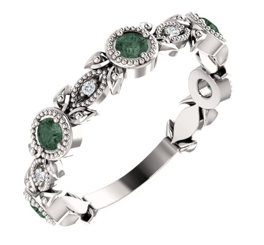 Platinum Alexandrite and Diamond Vintage-Style Ring, Size 7