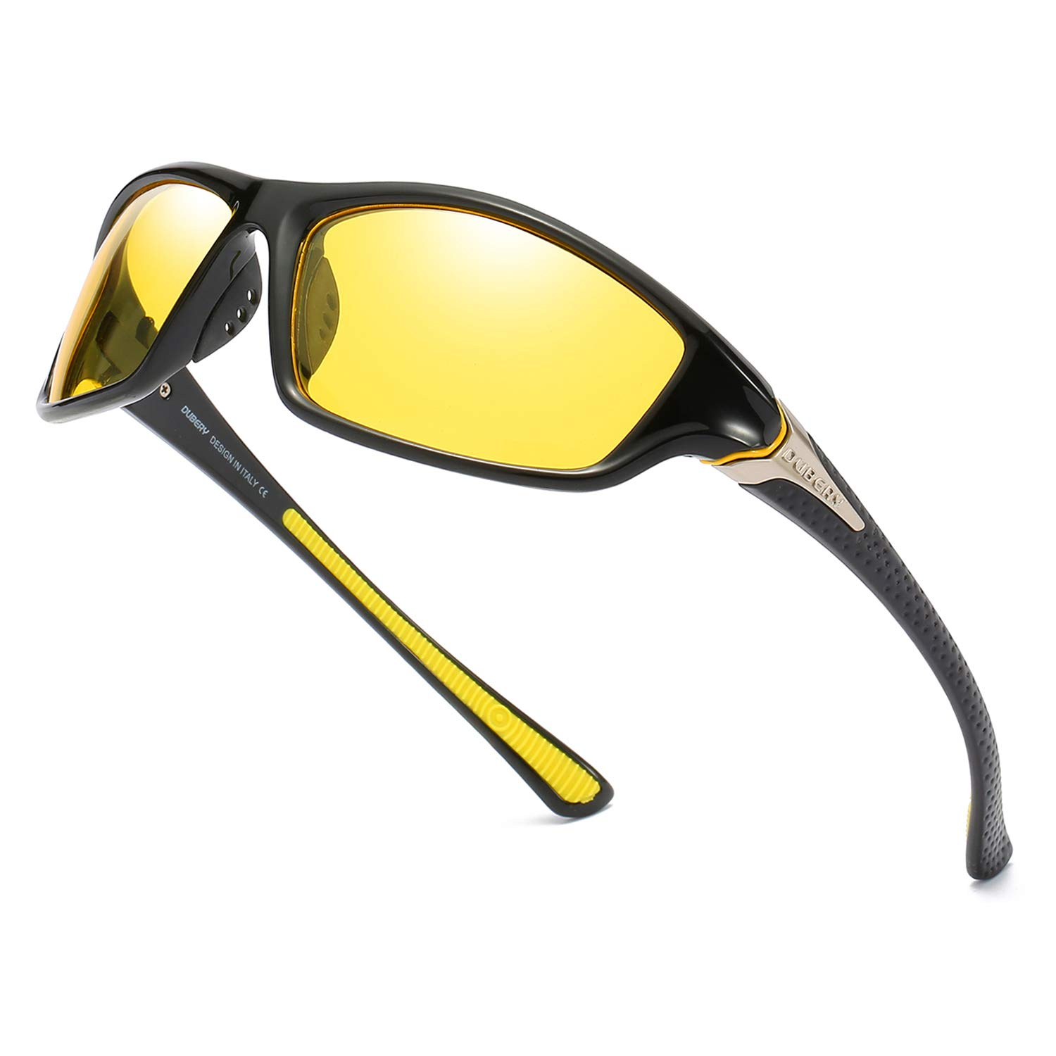 DUBERY HD Night Vision Driving Glasses for Men Women Yellow Anti Glare Glasses Ultra Lightweight Outdoor Sunglasses by DUBERY