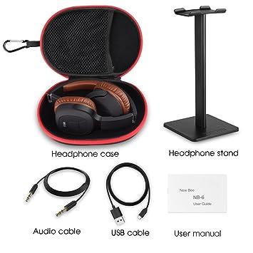 Auriculares para el oído, New Bee Bluetooth 4.1 Auriculares Auriculares inalámbricos Auriculares plegables Podómetro deportivo con micrófono, 3.5mm AUX para ...