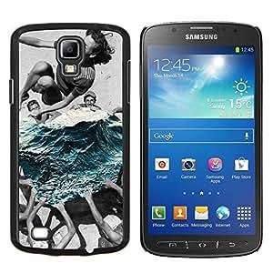 KLONGSHOP // Cubierta de piel con cierre a presión Shell trasero duro de goma Protección Caso - verano de natación - Samsung Galaxy S4 Active i9295 //