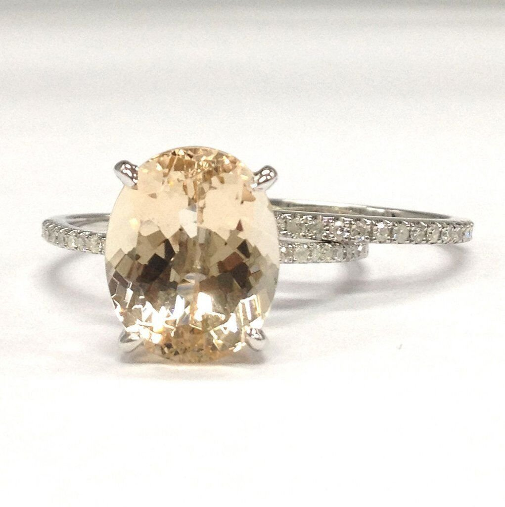 Oval Morganite Engagement Ring Bridal Set Pave Diamond Wedding 14K White Gold 10x12mm
