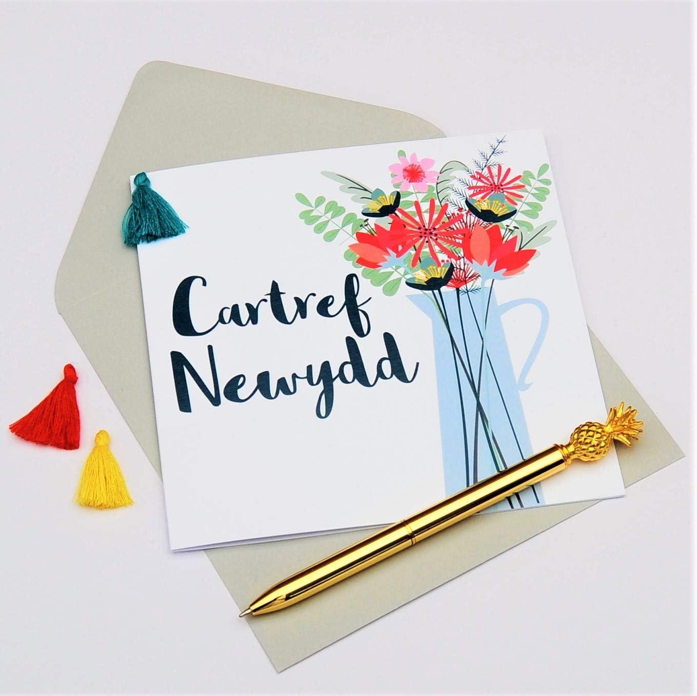 New Home Vase of Flowers Tassel Embellished Welsh Language New Home Greeting Card