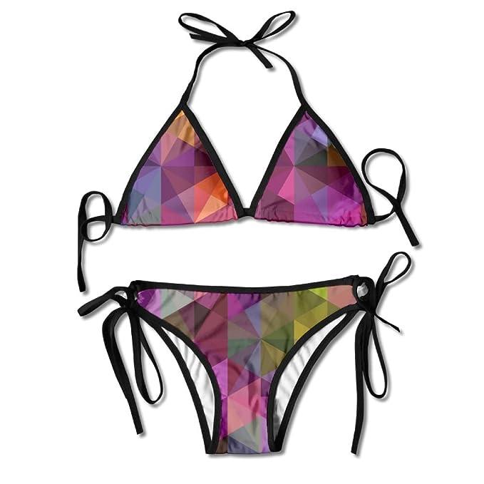 5a56368f9c685 Amazon.com  SARA NELL Womens Sexy Polygonal Geometric Colorful Rainbow Two  Piece Swimsuit Bathing Suit Bikini Set  Clothing