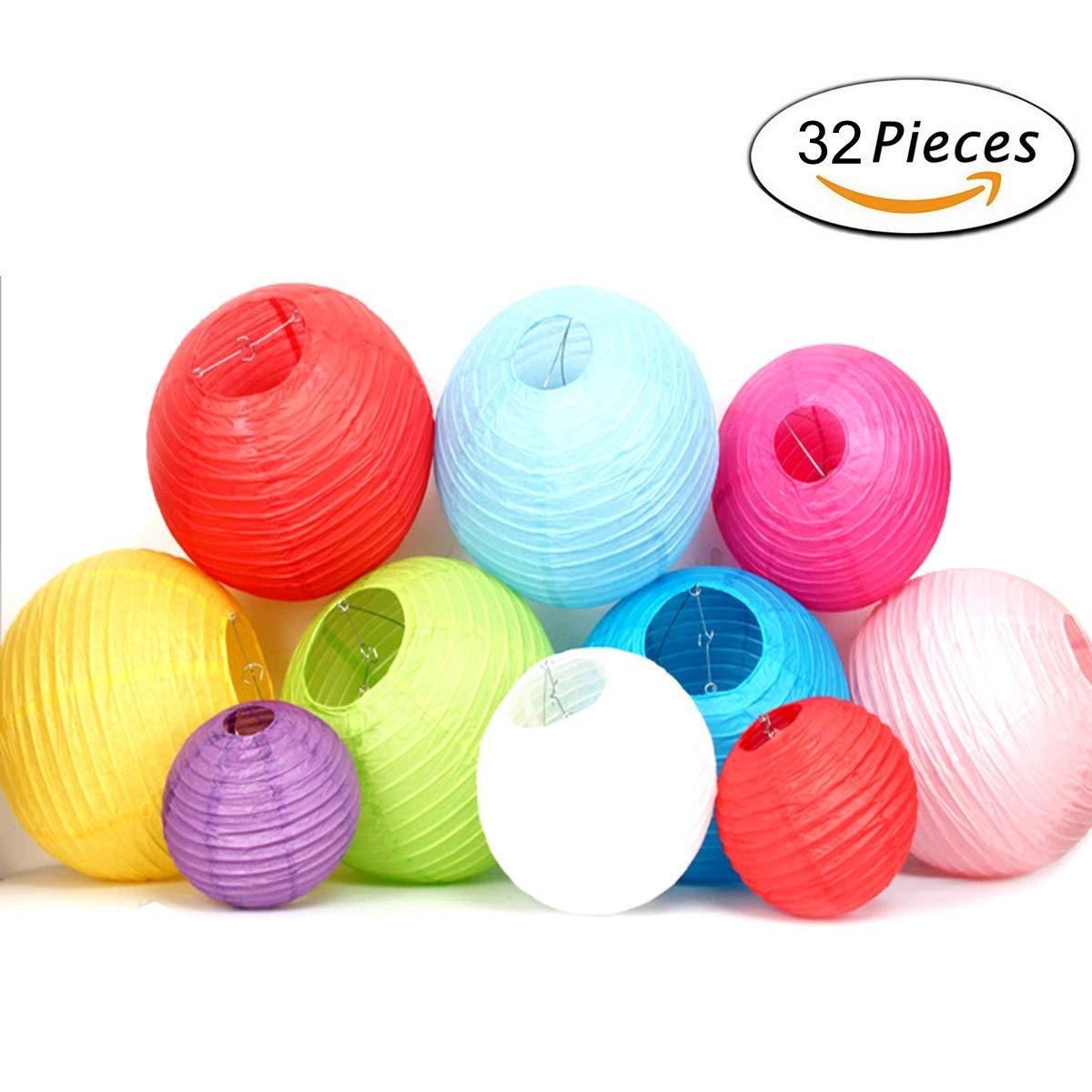 GPARK 36PCS Rainbow Color Paper Lanterns 4 Colors, (Multicolor, Size of 4'', 6'', 8'', 10'') for Wedding Birthday Party Graduation Home Decoration