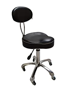 BarberSharper Salon Stools Hydraulic Barber Stool Chair Styling Stool Chairs With Backrest (Black)