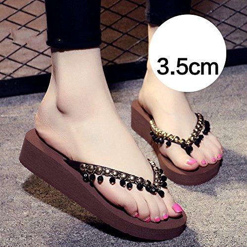 Chanclas MEIDUO sandalias Zapatillas antideslizantes (Negro, Beige, Marrón, Gris) cómodo 3.5cm-Brown