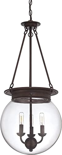 Savoy House Lighting 7-3301-3-28 Casual Lifestyles 3 Light Foyer Pendant and Clear Glass Shade, Oiled Burnished Bronze Finish