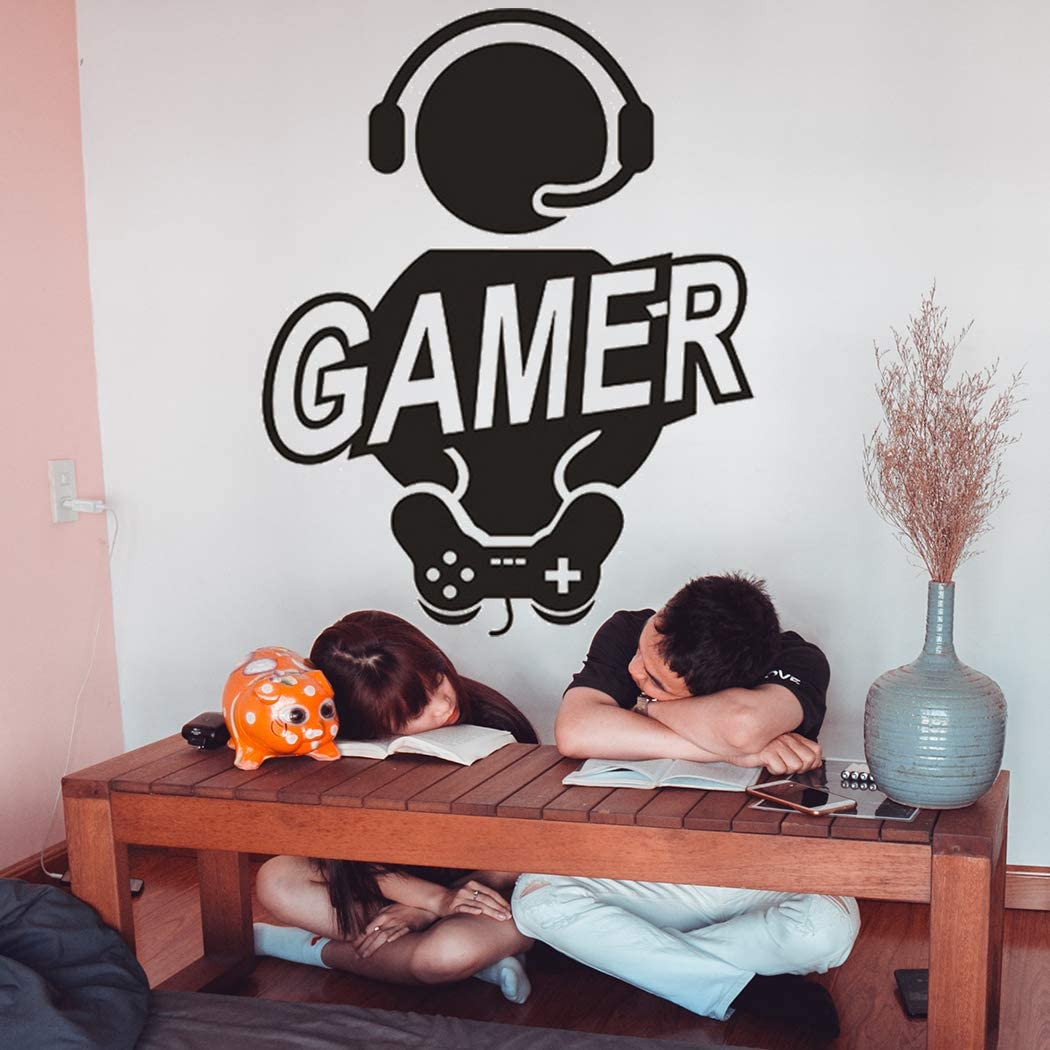 Game Wall Decals Video Game Wall Stickers for Boys Bedroom, Creative Gamr with Game Controller Wall Art Murals Removable Peel and Stick Gaming Wall Posters for Kids Room Playroom