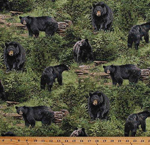 Cotton Black Bears Animals Northwoods Wildlife Nature Scenic Wilderness Born Free Green Cotton Fabric Print by the Yard (112-32001)