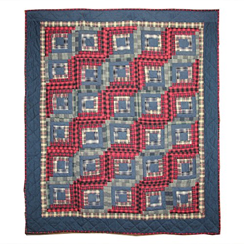 Patch Magic 50-Inch by 60-Inch Red Log Cabin Throw (Log Cabin Throw Quilt)