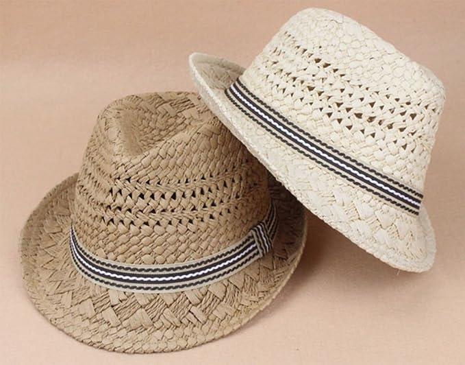 Baishide Strohhut Panamahut Damen Sommer Wide Rand Strandhut Kinder Eltern-Kind Sonnenhut Jazz Caps
