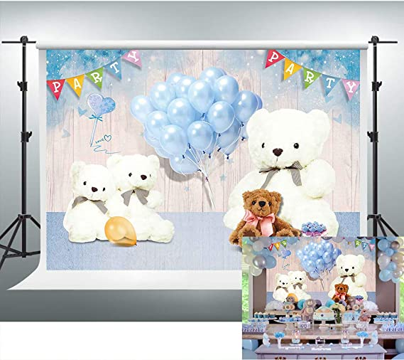 6x8ft Vinyl Backdrop Baby Shower Photography Background Baby Boys Pacifier Toy Bear Blue Heart Pregnancy Baby Baptism Newborn Party Baby Boy Prince Portrait Photo Studio Shooting Prop