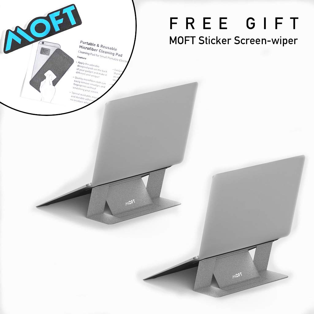 MOFT Laptop Stand, Invisible Lightweight Laptop Computer Stand, Compatible with MacBook, Air, Pro, Tablets and Laptops up to 15.6'', Patented (Double Pack Silver)