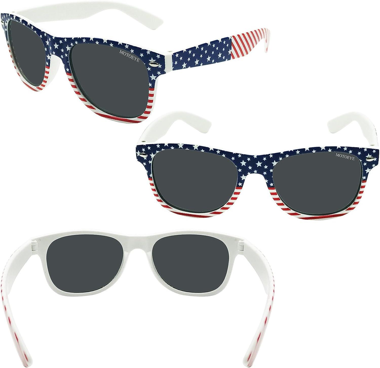 MOTOEYE Kids Polarized American USA Flag Sunglasses for Girls Boys Children Pack of 2