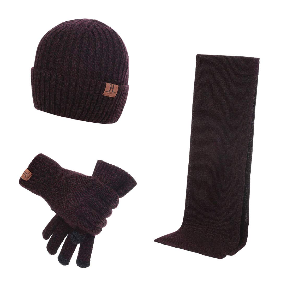 Pinji 3 pcs Men Hat Gloves Scarf Touch Screen Soft Knitted Cold Weather Set