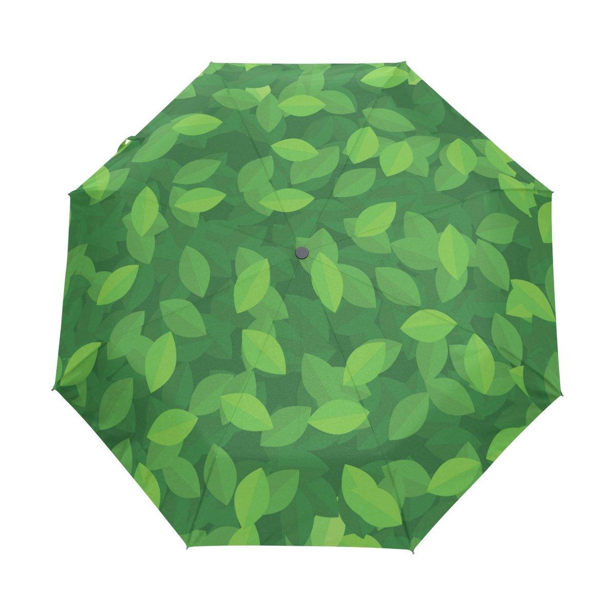 JSTeL Green Leaves防風UV傘Auto Open Close 3折りたたみゴルフStrong Durableコンパクト旅行太陽傘、ポータブル軽量簡単キャリー   B071JDRF93