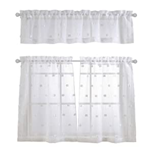 MYSKY HOME Patched Design Fashion 3 Pieces Kitchen Jacquard Sheer Tier Curtains and Valance Set, White