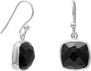 Sterling Silver French Wire Earrings, 10mm Square Faceted Black Onyx, 5/8 in
