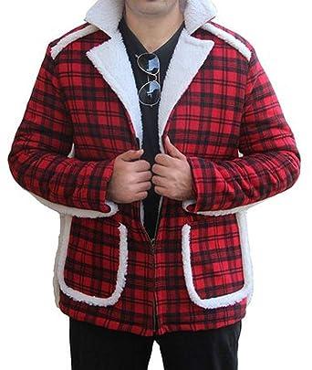 100/% Money Back Guarantee Deadpool Ryan Reynolds Red Shearling Fur Jacket Coat