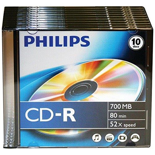 Philips Cdr80D52N/300 700Mb 80-Minute 52X Cd-Rs With Slim Jewel Cases, 10 Pk