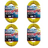 US Wire and Cable 14/3 100-Feet SJTW Yellow Lighted Extension Cord (4-Pack)