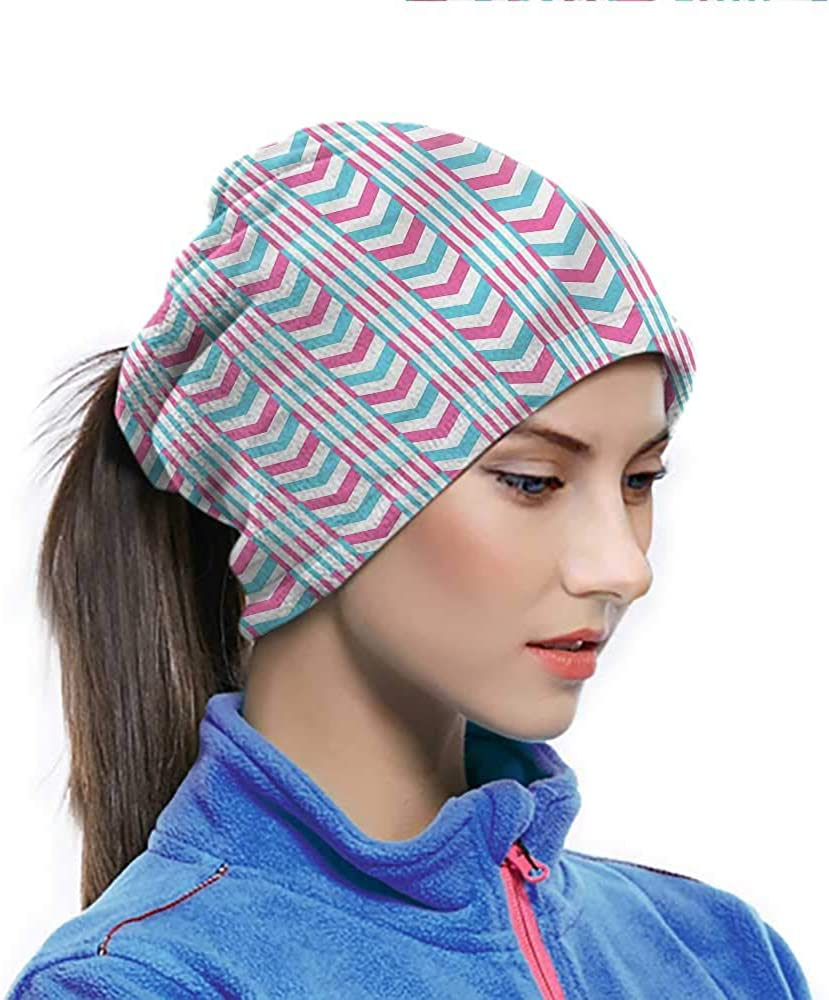 Abstract Headwrap Chevron Pattern Stripes Sport UV Face Scarf for Workout