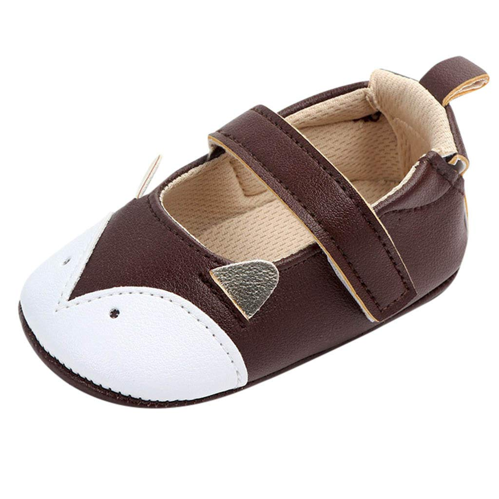NUWFOR Cute Baby Girls Newborn Infant Cartoon Casual First Walker Toddler Shoes(Coffee,6-9Months)