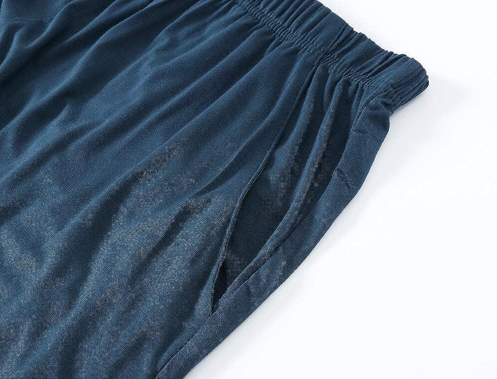 JINSHI Pantalones Largos de Pijama para Hombre C/ómodo Pantal/ón de Estar de Modal con Bolsillos