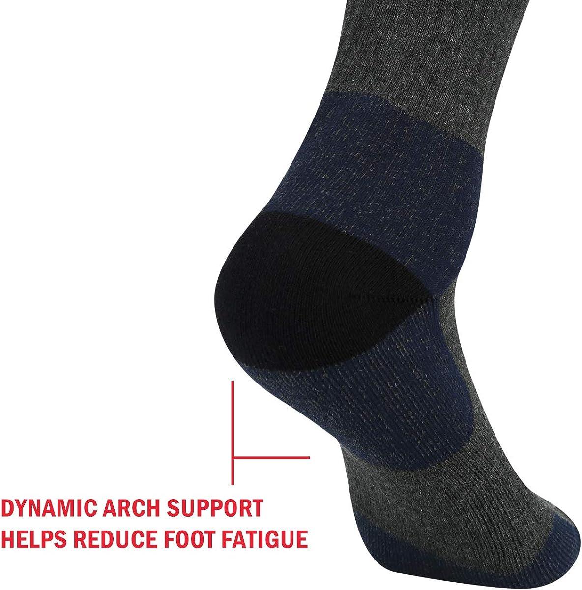 YUEDGE Mens Performance Moisture Wicking Cotton Cushion Crew Socks Work Boot Outdoor Sports Athletic Walking Hiking Socks