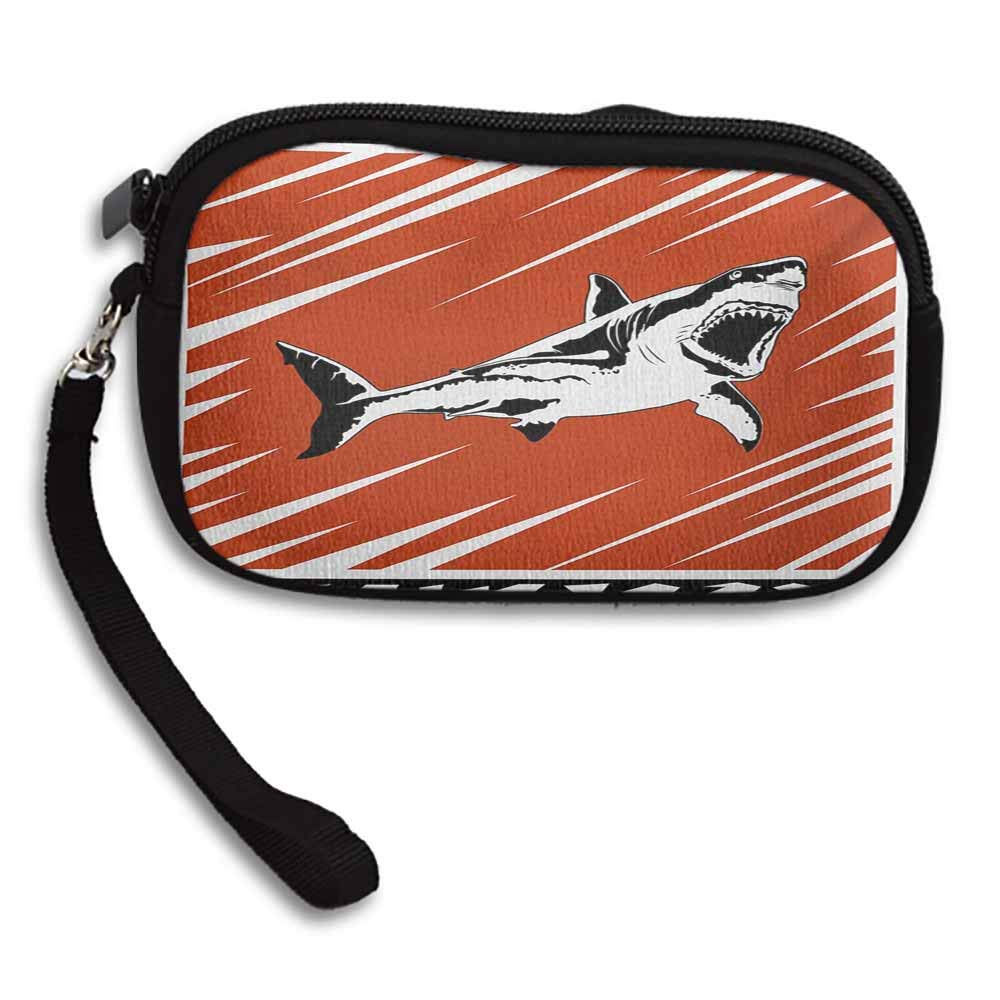 Shark Lady Wallets Killer Sea Creature Swimming in the Ocean in Grunge Stylized Graphic W 5.9x L 3.7 Cellphone Bag with Strap