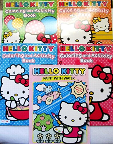 DBK Gifts Coloring Book 1 Water Paint Book Set Pre School Elementary Grades | Educational Gift Set (Hello Kitty) -