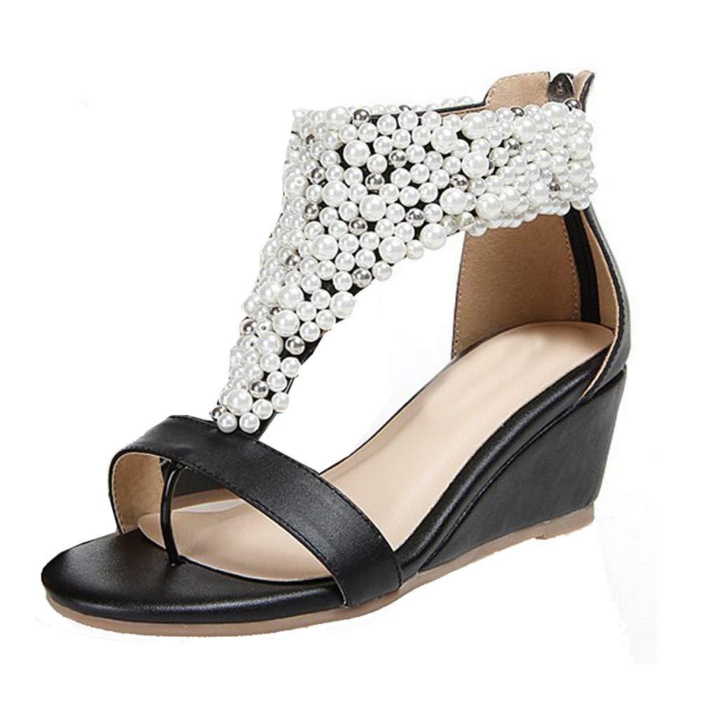 Women's Pearl Encrusted Open Toe Black Strap Back Zip Wedge Sandals - DeluxeAdultCostumes.com