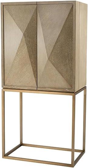 Casa Padrino Luxury Wine Cabinet with 2 Doors Brown/Brass 81.5 x 50.5 x H. 168 cm - Luxury Quality: Amazon.es: Hogar