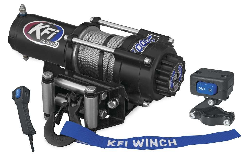 New KFI 3000 lb Winch & Model Specific Mounting Bracket - 1997-1999 Polaris Sport 400 2x4 ATV