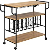 Wooden Wine Rack Cart with Metal Frame Kitchen Rolling Storage Bar Table 3-Tier Shelf Serving Trolley