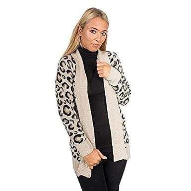 7604e3607eba SUFIAH ® Ladies Leopard Print Womens Knitted Long Cardigan Jumper Top Plus  Size: Amazon.co.uk: Clothing