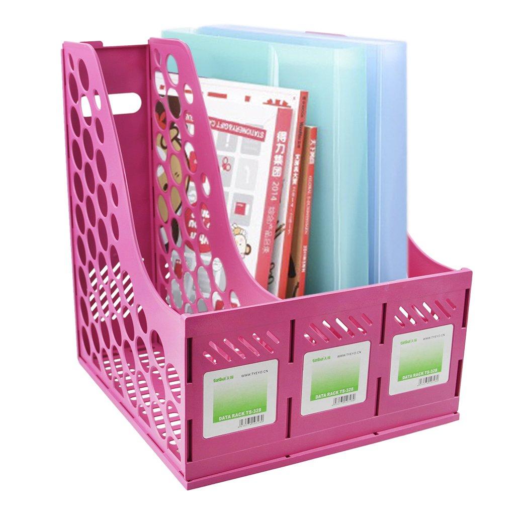in polipropilene resistente divisorio per organizzare i documenti Pink per riviste documenti e raccoglitori ad anelli Liying Portariviste a 4 sezioni