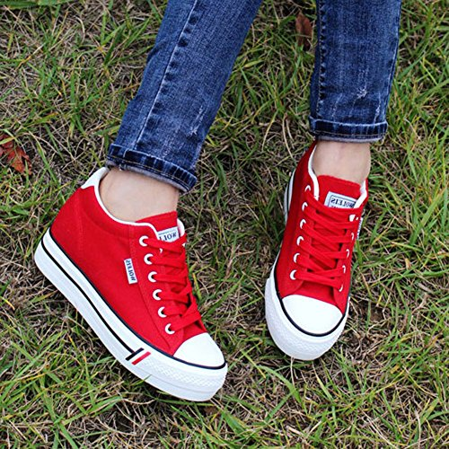 Basket Tennis Confort Chaussure Mode Wealsex Basse Sneakers Toile Epaisse Rouge Semelle Plate Femme Plateforme 1dqxwv