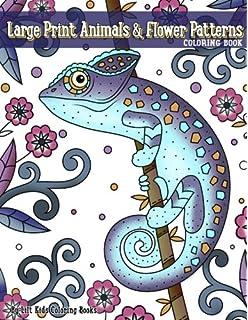 Large Print Animals Flower Patterns Coloring Book Premium Adult Books Volume