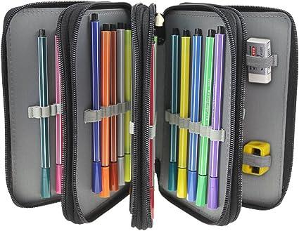 Estuche de 72 lápices de colores de Oxford de gran capacidad, estuche escolar multifunción, portalápices portátil, con asa para la escuela y la oficina, color Negro Taille unique: Amazon.es: Oficina y papelería