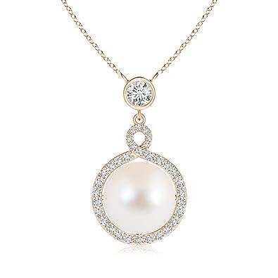 Angara Freshwater Cultured Pearl Infinity Twist Pendant; Pearl Pendant & Pearl Necklace 3hWxbyi