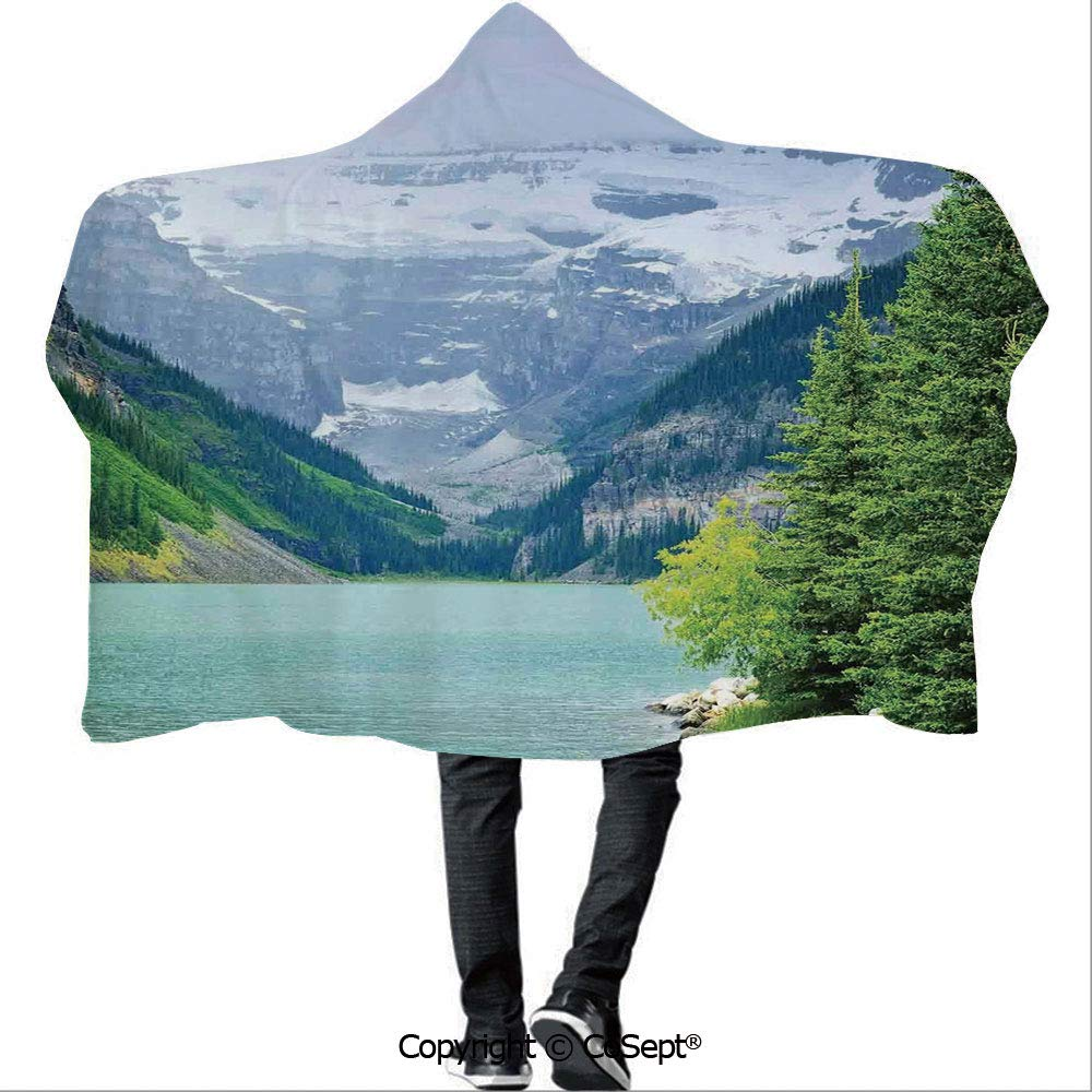 AmaUncle Hooded Blankets,Landscape of Lake Louise and Mountains with Snows Alpine Trees in Alberta Canada,for Adults and Children(59.05x51.18 inch),Green White by AmaUncle